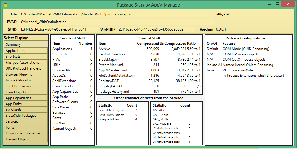 AppV_Manage Analyzer showing a package containing a Native Image