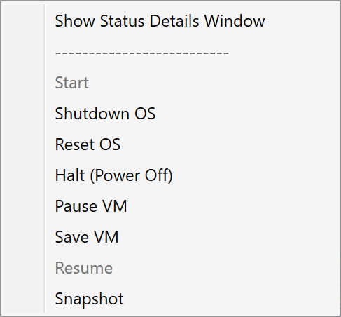 Example of Right-click menu for a VM