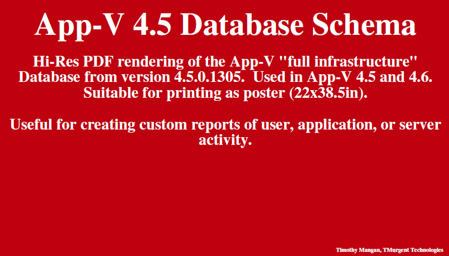 App-V 4.5 Database Schema cover page image
