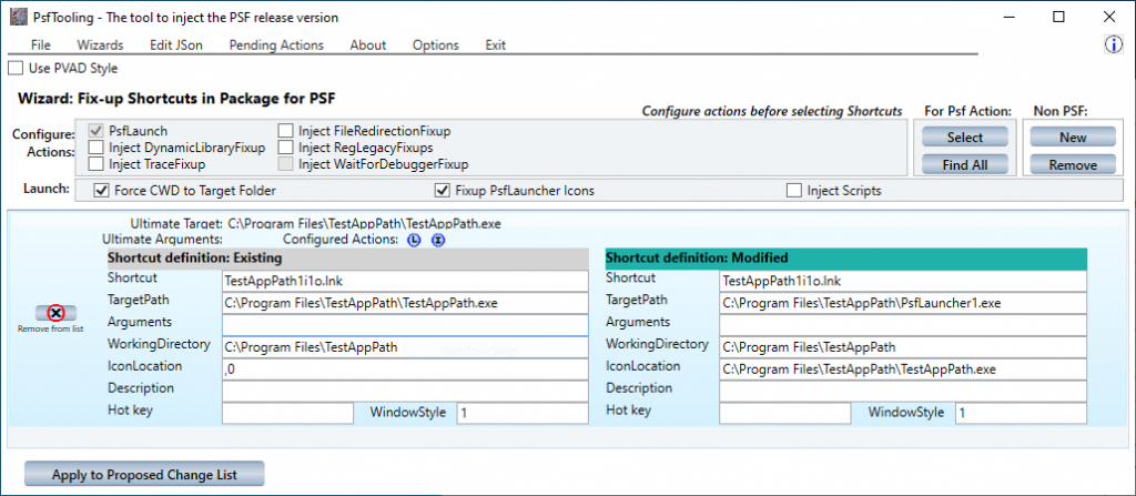 Using PsfTooling to add and configure PsfLauncher