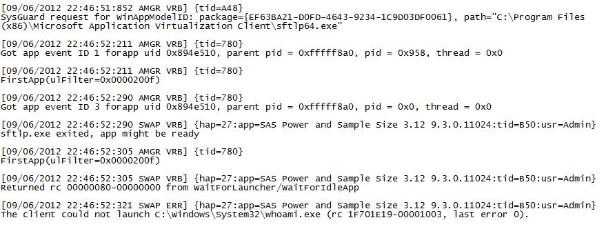 App-V Log File showing relevant entries